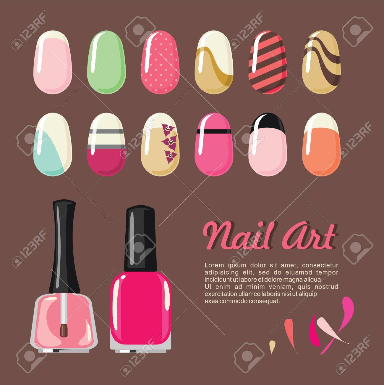 Nails Art Templates And Polish Bottle For Manicure Salon Services ...