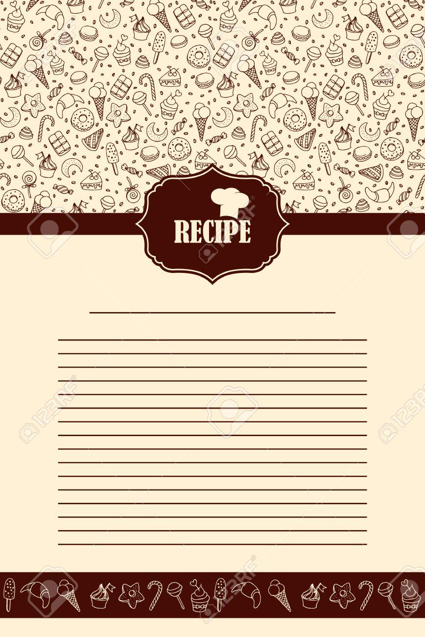Diseño De La Página De La Receta. Página Del Libro De Cocina De ...