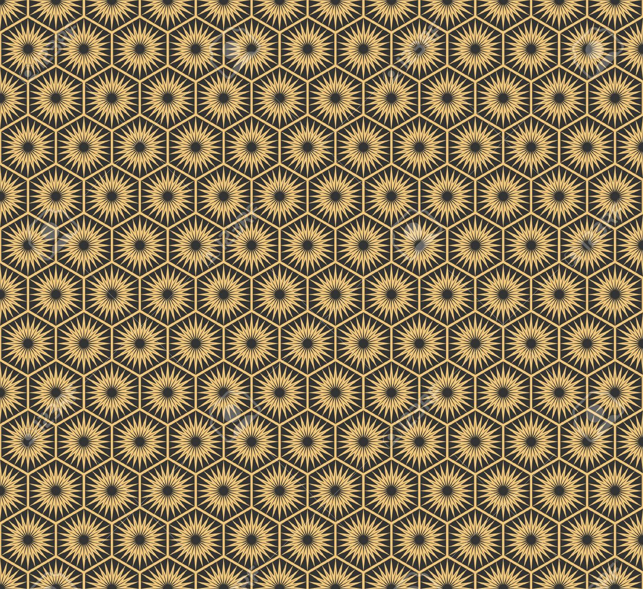 Art Deco Papier Peint art deco hexagonal seamless vintage wallpaper pattern