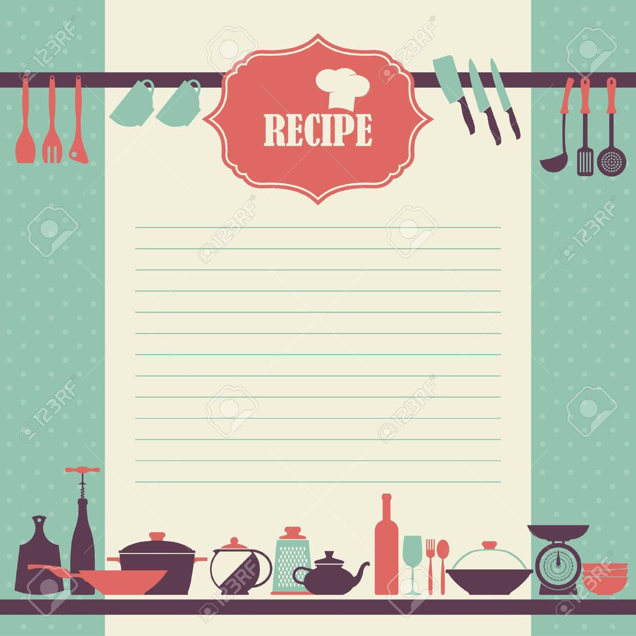 Diseño de la página de la receta. Página del libro de cocina de estilo  vintage