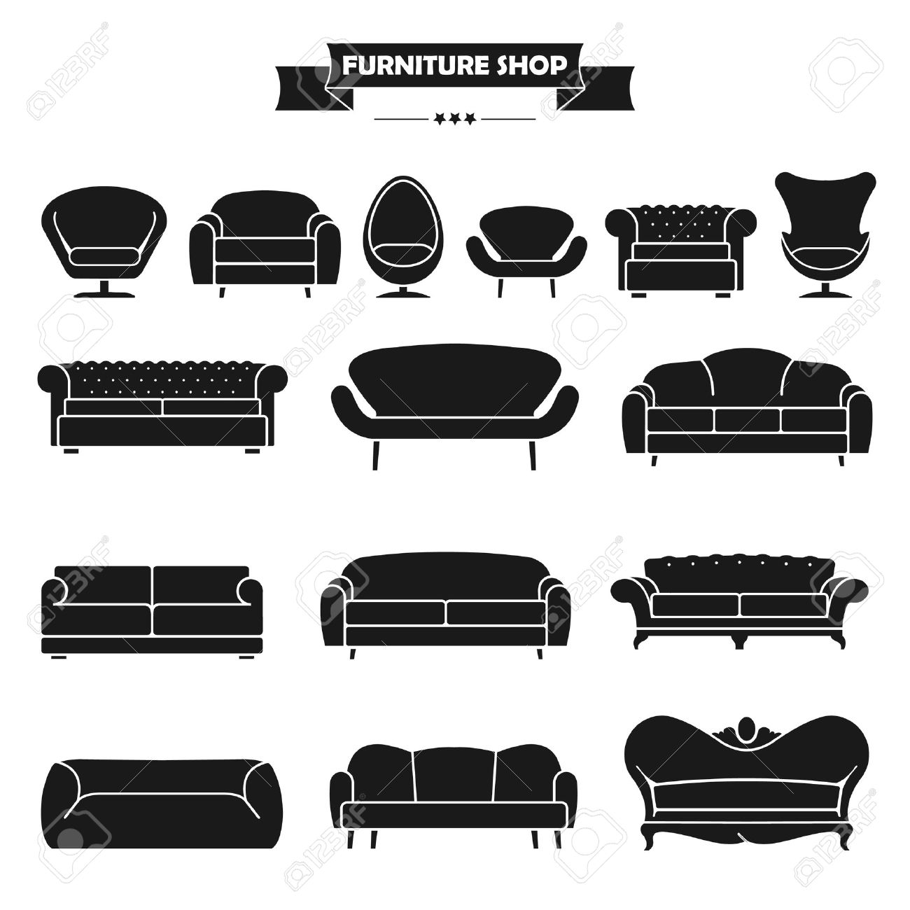 Luxury Modern Sofa And Couch Icons Set. Vintage Furniture Collection. Stock  Vector   41641641