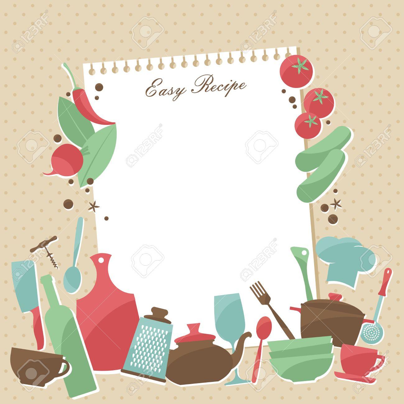 Vector Receta diseño de la página. Página Vintage estilo de cocina libro  con platos y verduras