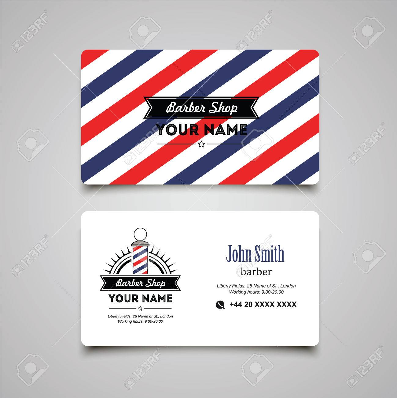Hair salon barber shop business card design template royalty free hair salon barber shop business card design template stock vector 43247448 flashek Choice Image