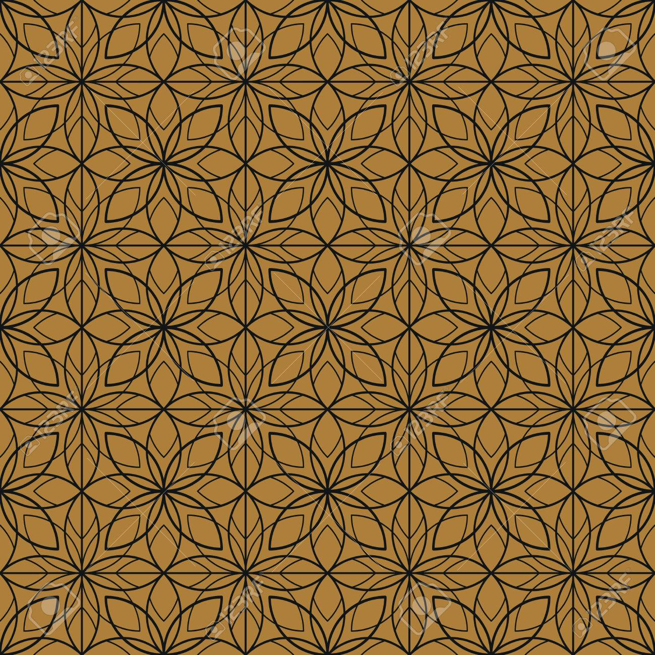 Art Deco Seamless Vintage Floral Wallpaper Pattern Royalty Free