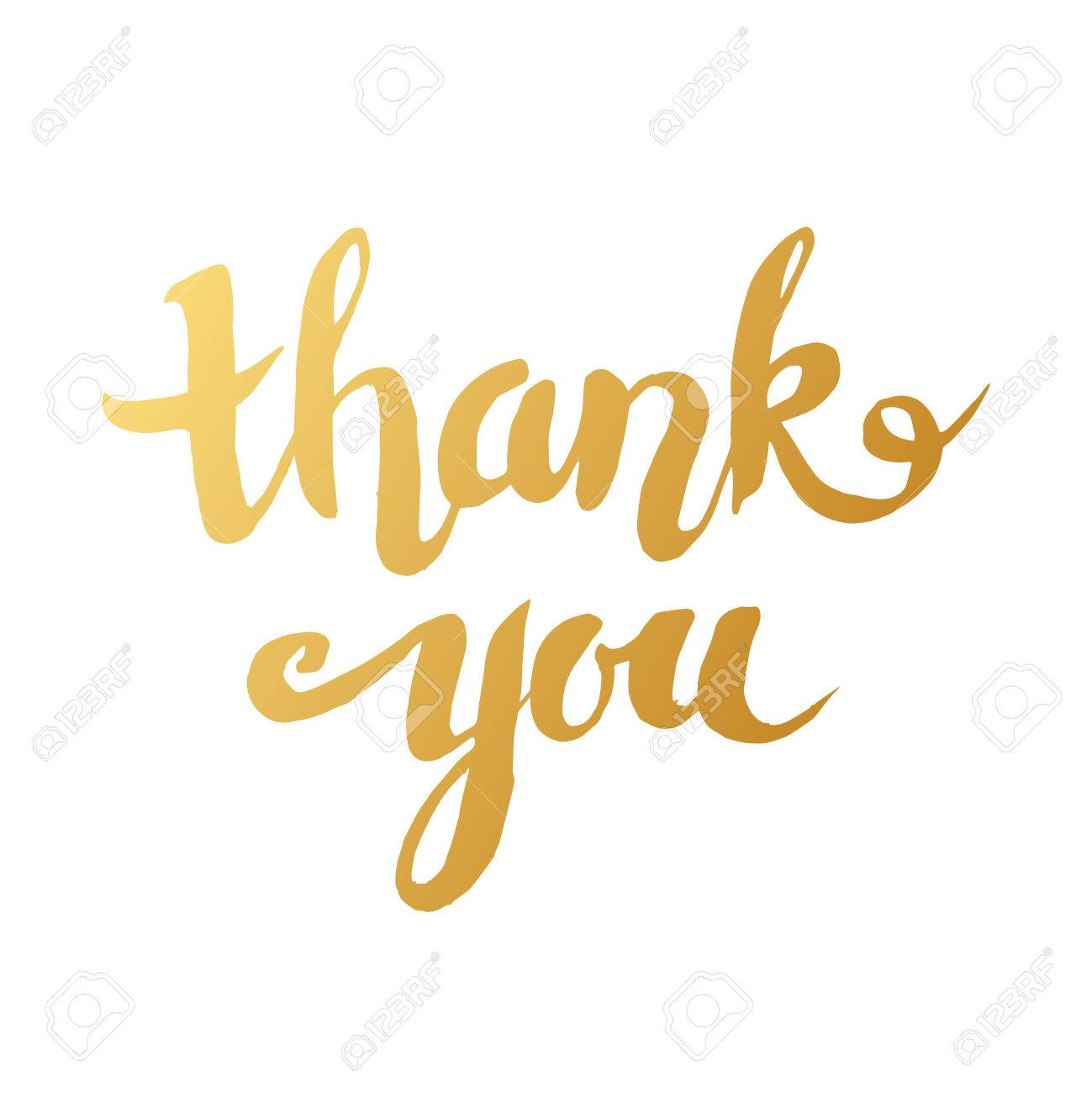 hand drawn word thank you in gold color handwritten lettering
