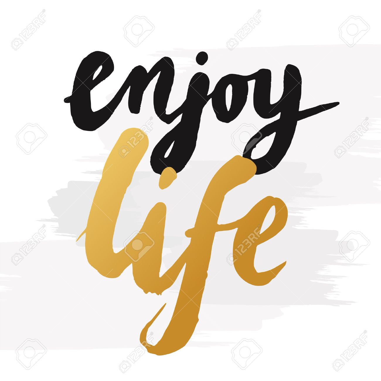 """Hand-drawn word """"enjoy life"""" in gold color. Inspirational quote handwritten with golden ink. Custom lettering for posters, t-shirts and greeting cards. Vector calligraphy isolated on white background with brush effect - 52952962"""