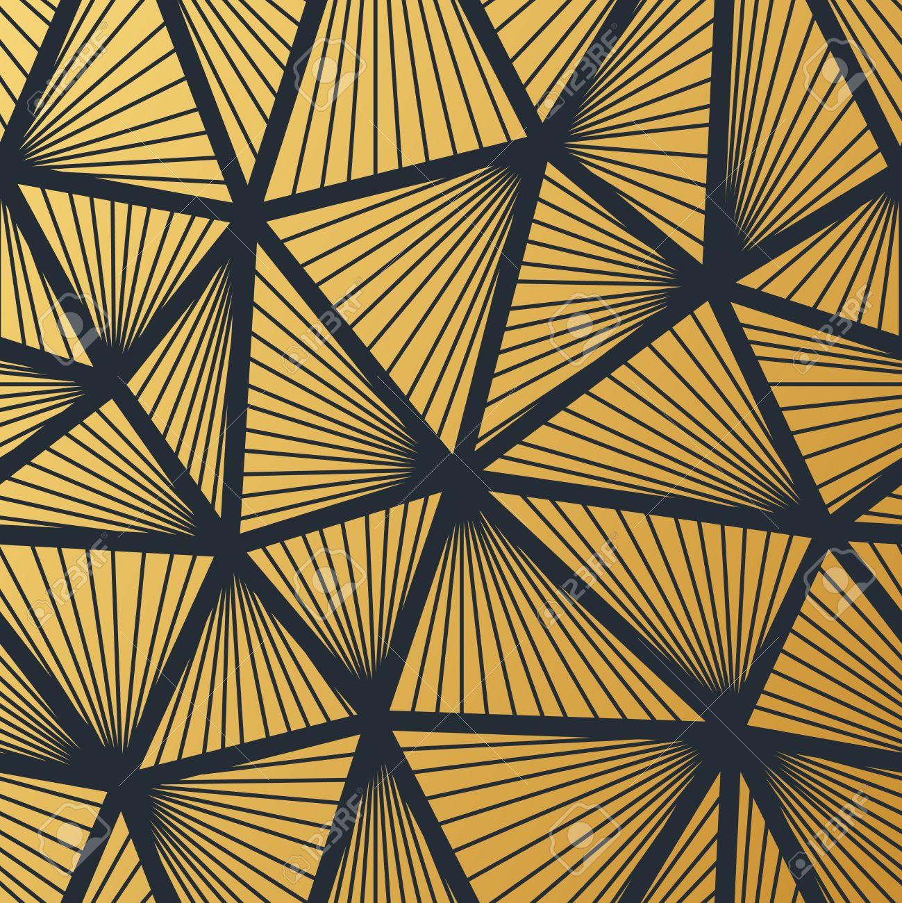 charming Art Deco Geometric Wallpaper Part - 2: Art Deco seamless vintage wallpaper pattern. Geometric decorative  background. Stock Vector - 68165160