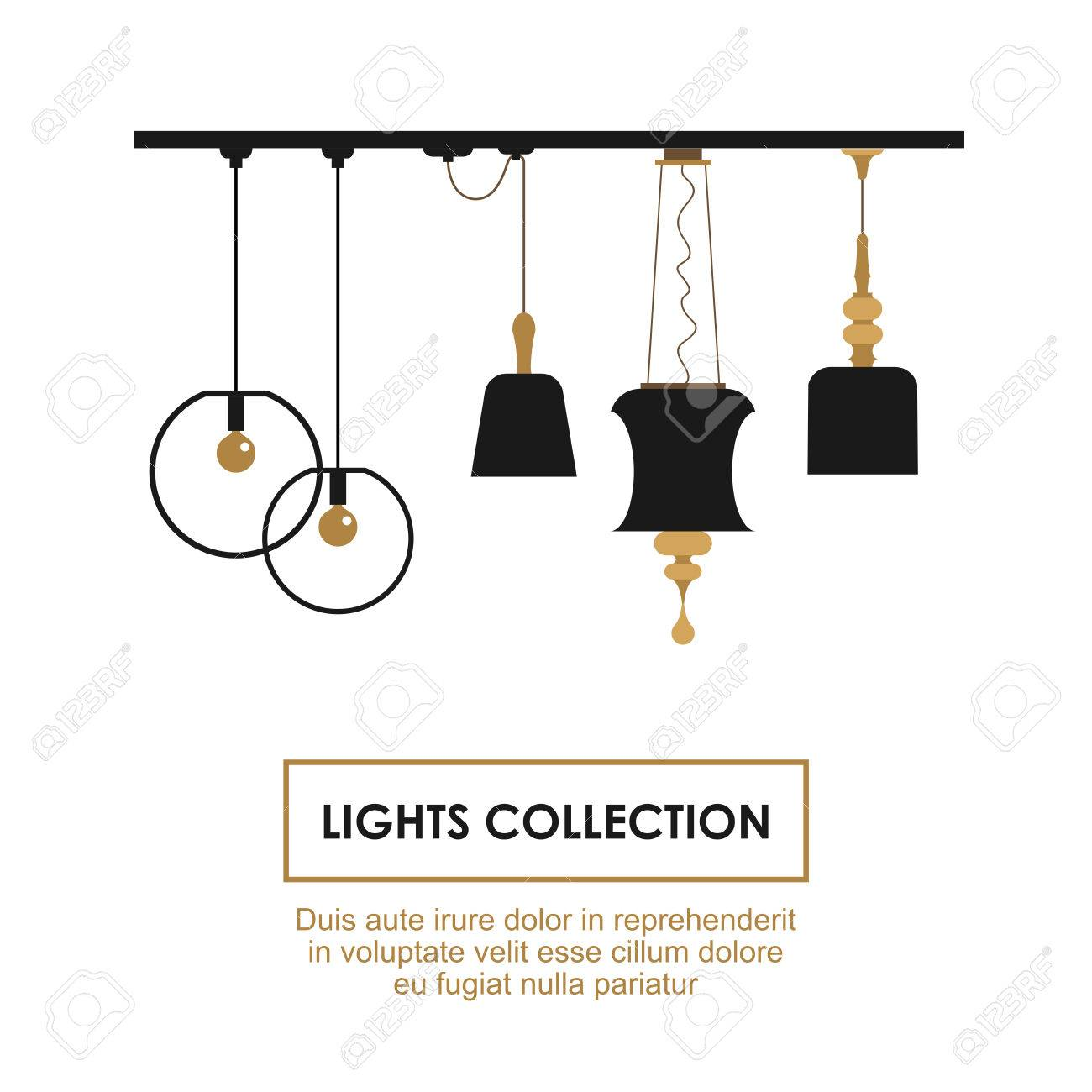 lights collection symbols set vector elements for interior design