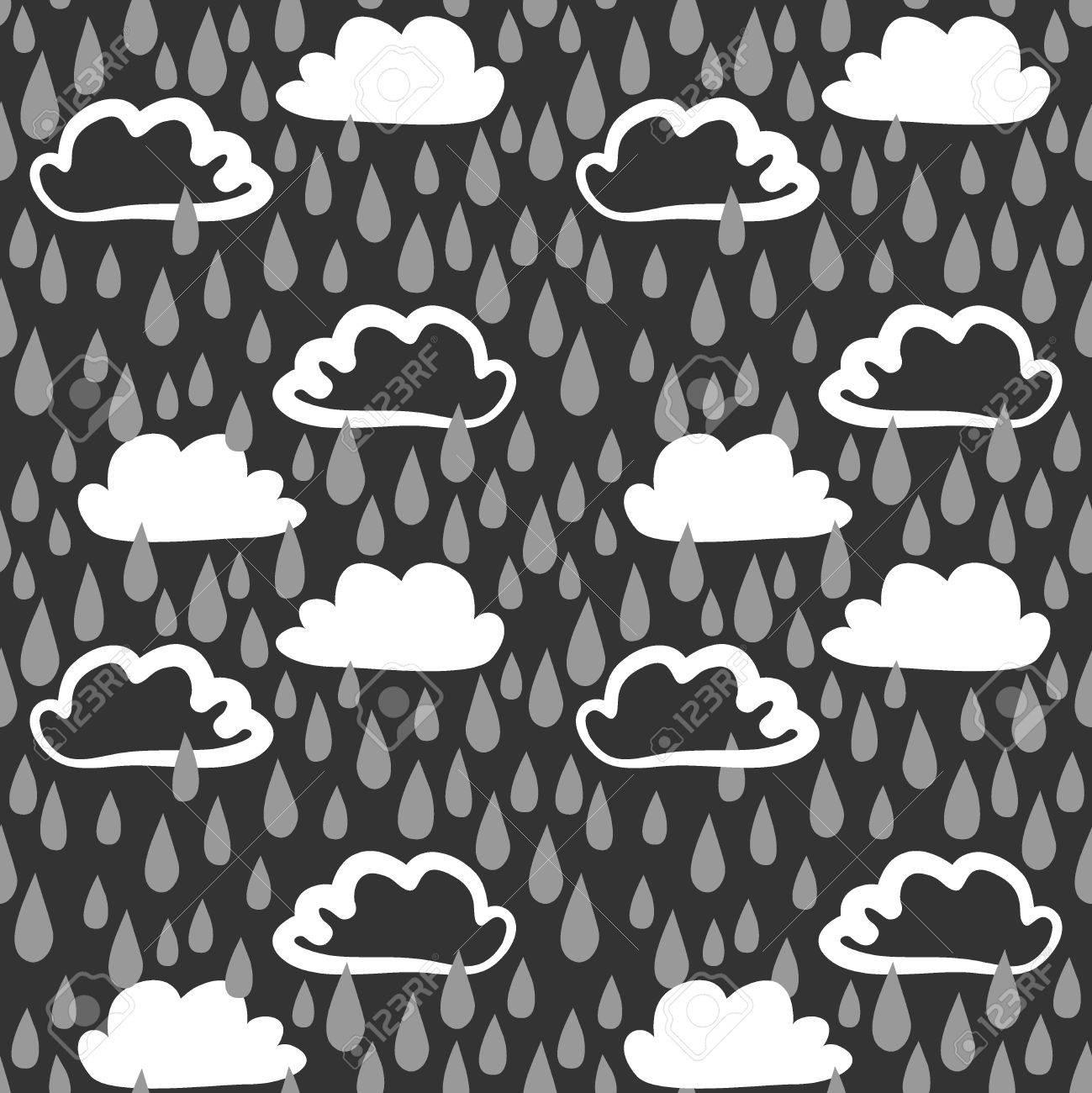 Dibujado A Mano Patrón Transparente Divertida Con Las Nubes Y Gotas ...