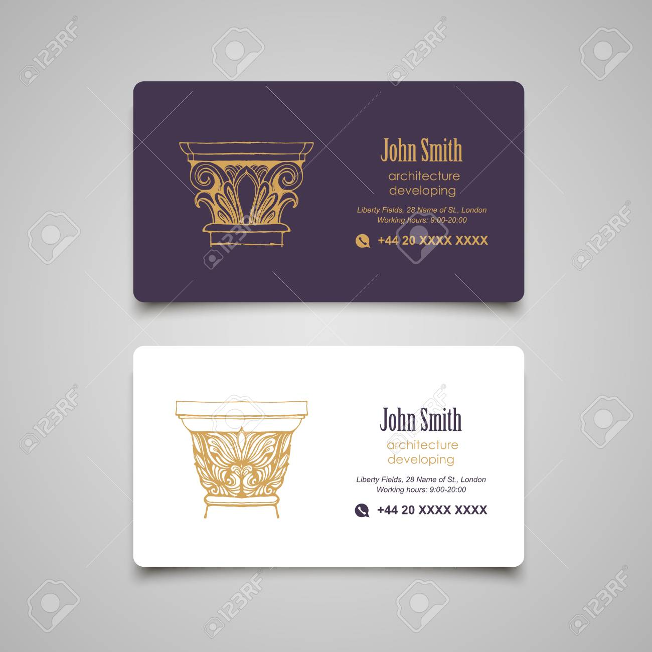 Arhitectural business card templates set vector classical columns arhitectural business card templates set vector classical columns elements stock vector 68810984 reheart Choice Image