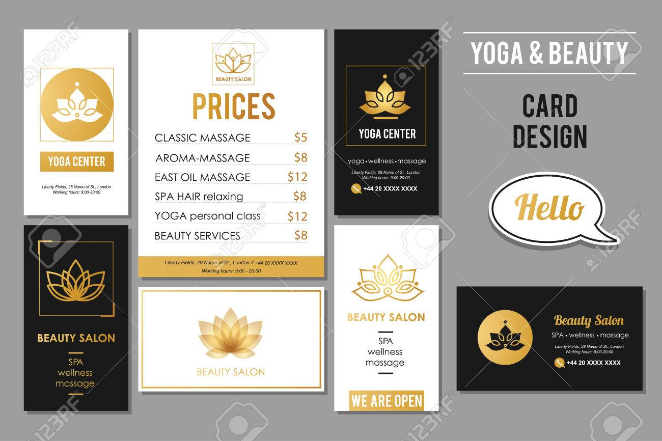 Beauty salon and yoga business cards design vector golden card beauty salon and yoga business cards design vector golden card templates for beauty and wellness reheart Images