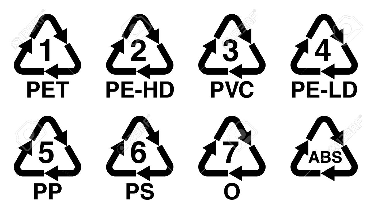 Plastics recycling symbol, recycle triangle with number and resin identification code sign. - 102500659