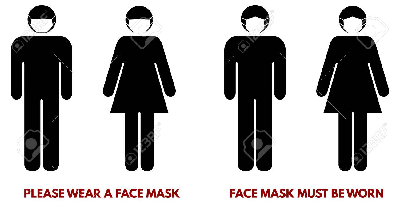 Please wear face nose mouth mask sign. Man and woman silhouette with piece of cloth over their faces. Symbol can be used during coronavirus or covid outbreak - 144124817