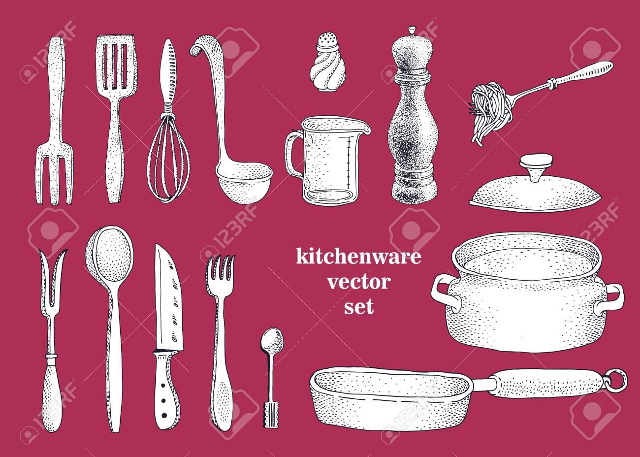 Conjunto De Vector De Utensilios De Cocina Hechos A Mano
