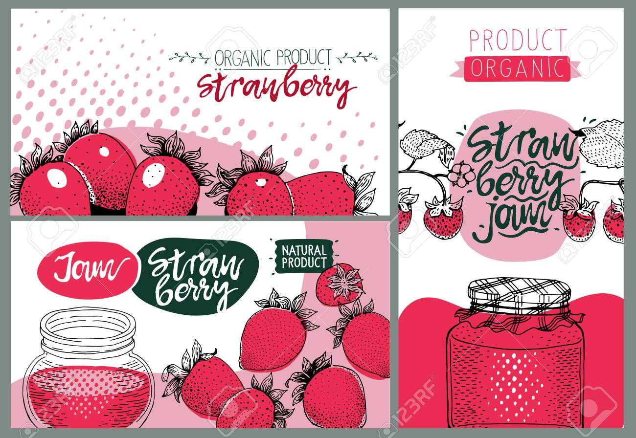 strawberry party set of cute creative card templates with