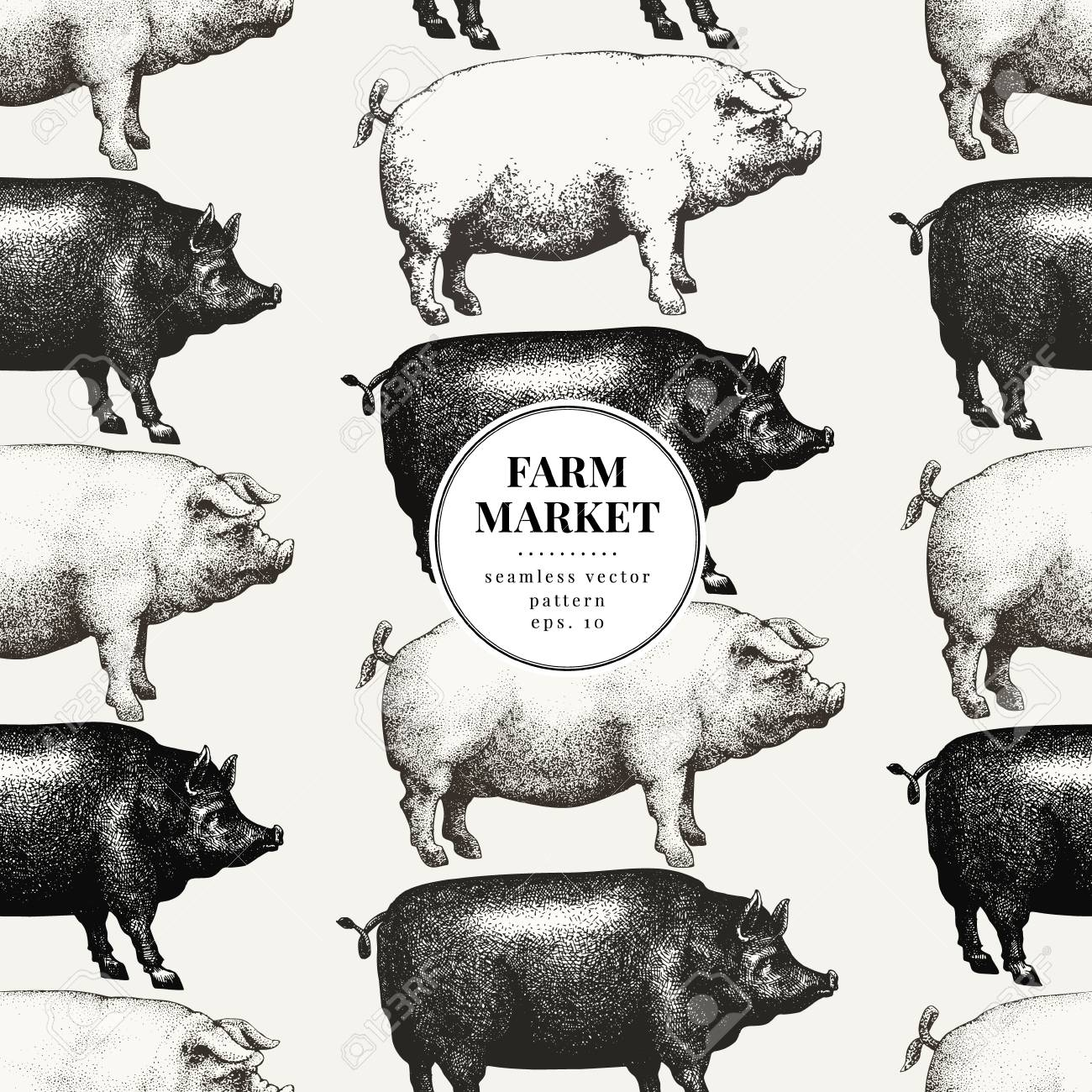 Seamless farm vector pattern. Graphical pig silhouette, hand..