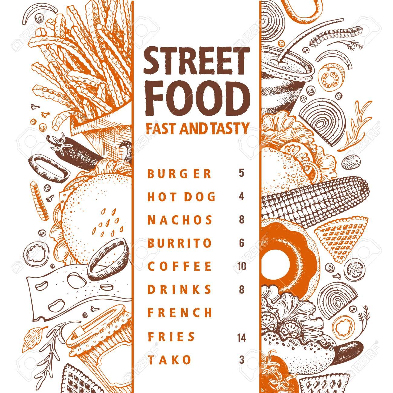 Fast Food Hand Drawn Vector Illustration Street Food Banner