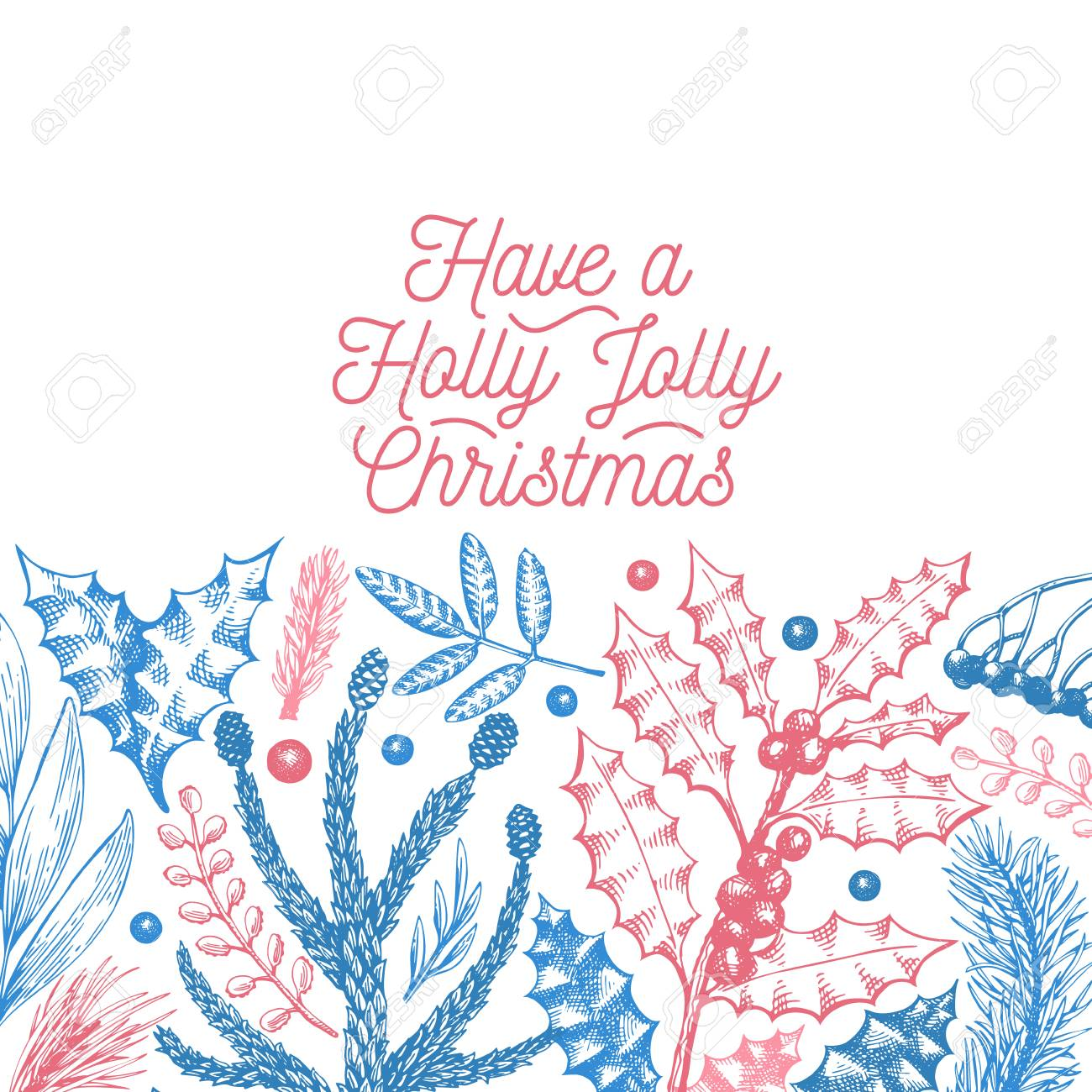 Greeting Christmas Card In Retro Style Vector Hand Drawn