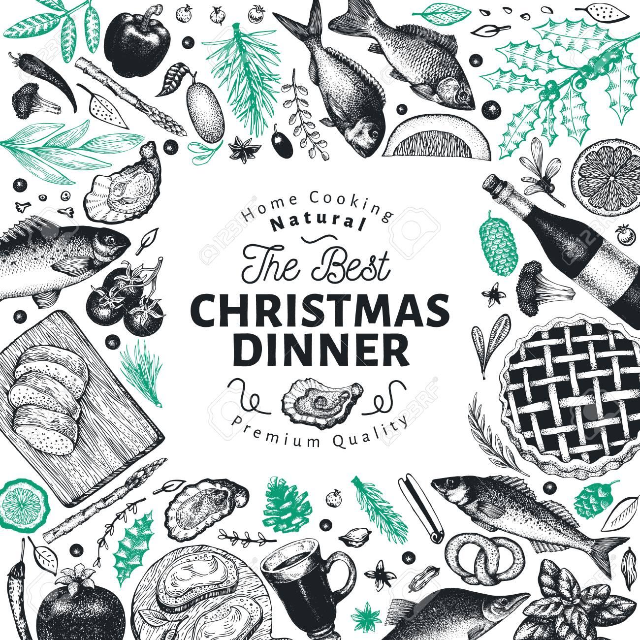 Happy Christmas Dinner Design Template Vector Hand Drawn Illustrations