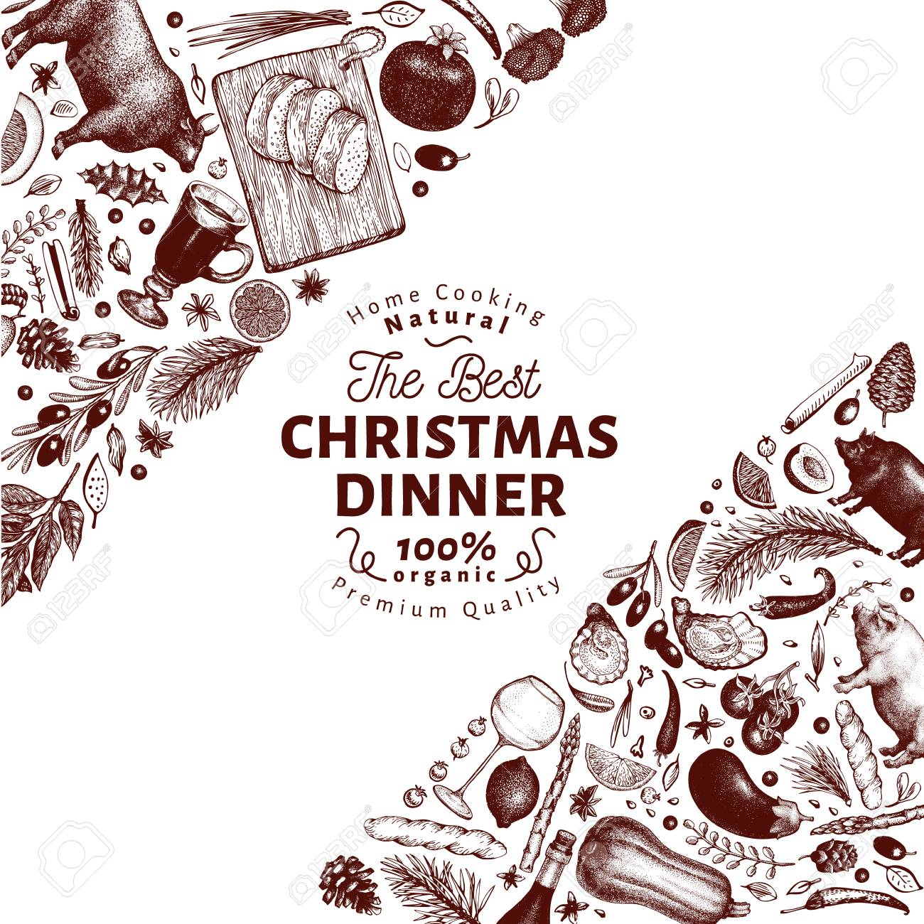 Happy Christmas Dinner Design Template Vector Hand Drawn Illustrations