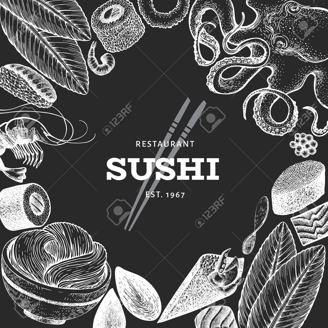 Japanese cuisine design template. Sushi hand drawn vector illustration on chalk board. Vintage style sian food background. - 131537890