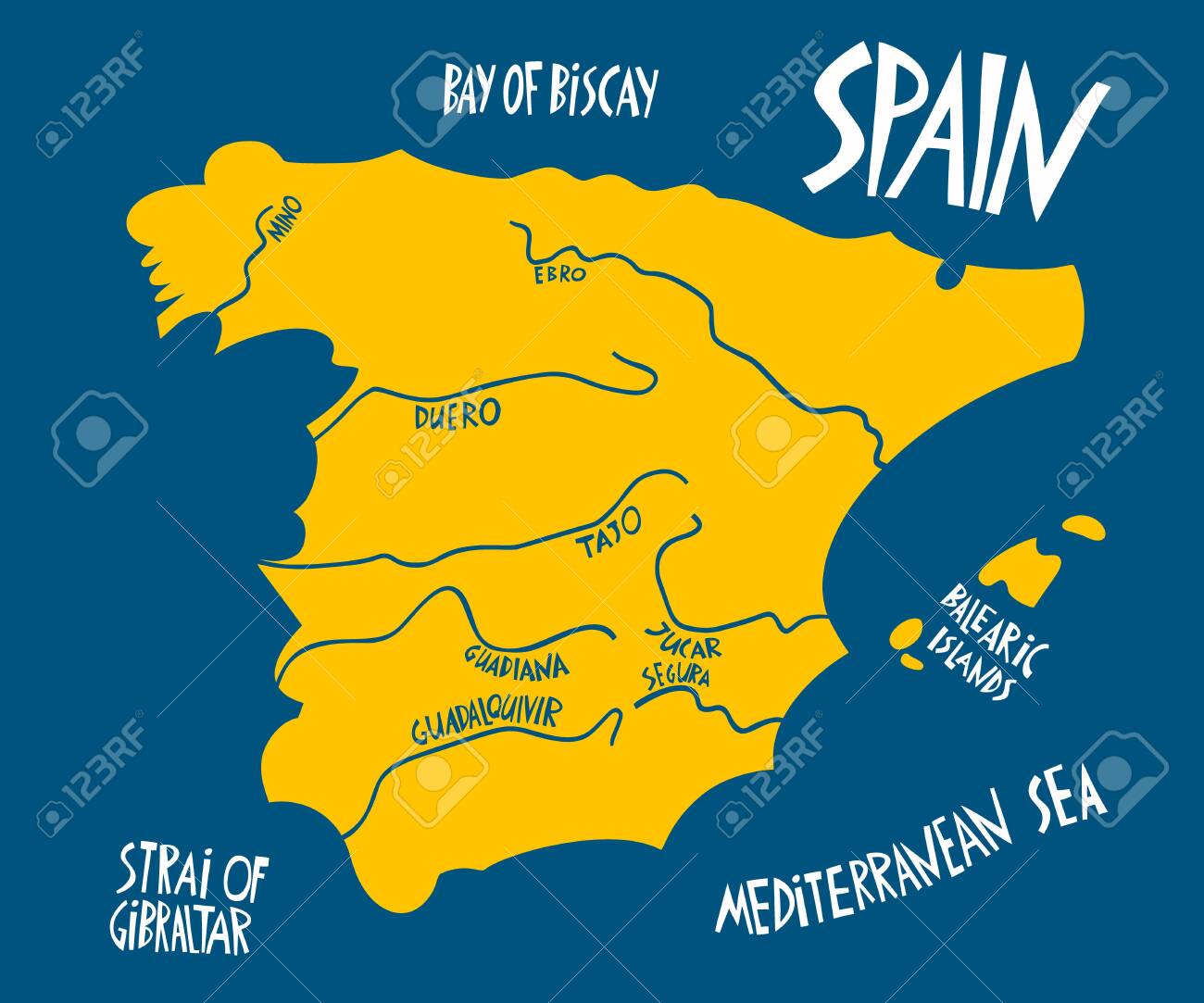 Picture of: Vector Hand Drawn Stylized Map Of Spain Kingdom Travel Illustration Royalty Free Cliparts Vectors And Stock Illustration Image 146077229