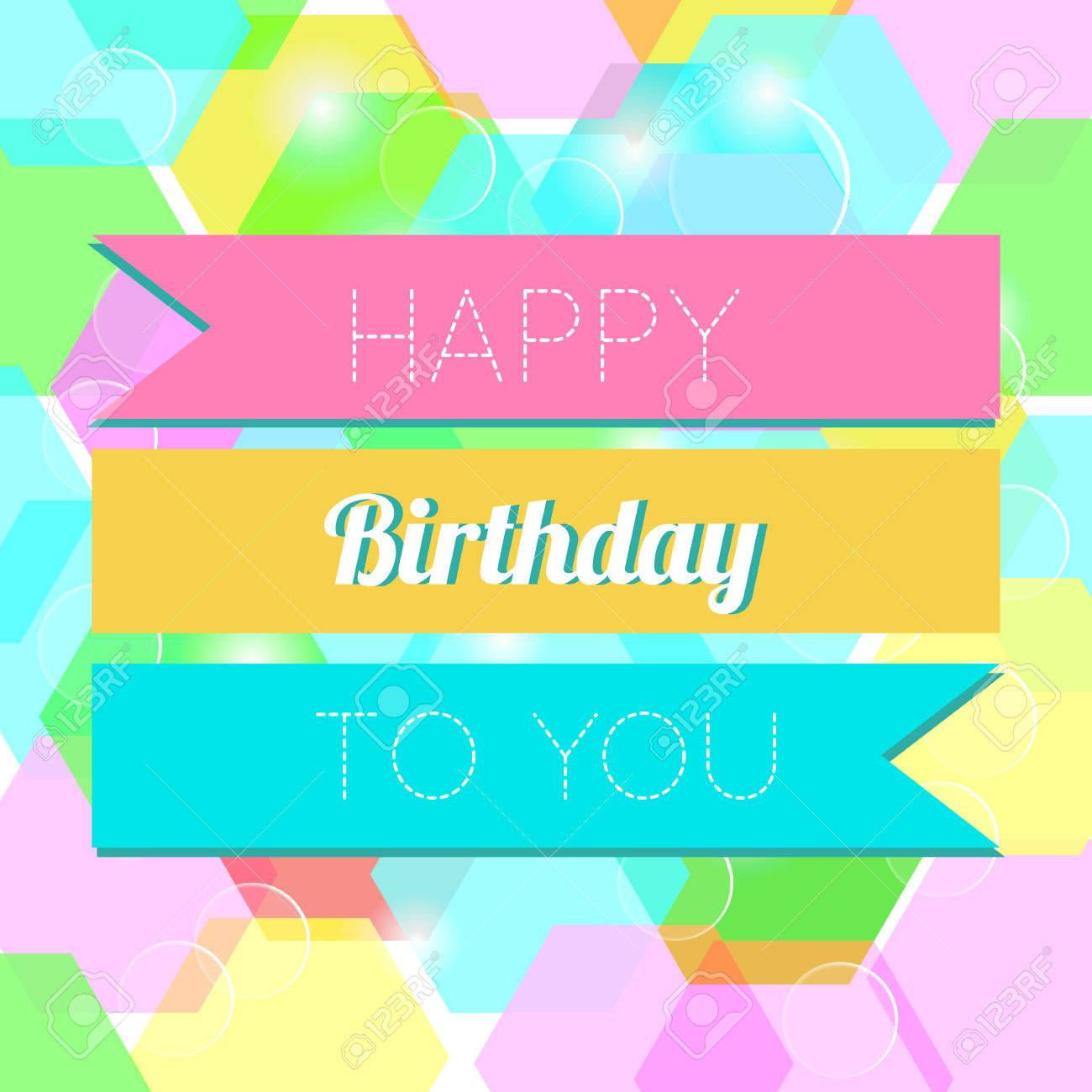 Colorful Happy Birthday Greeting Card Design Illustration Royalty