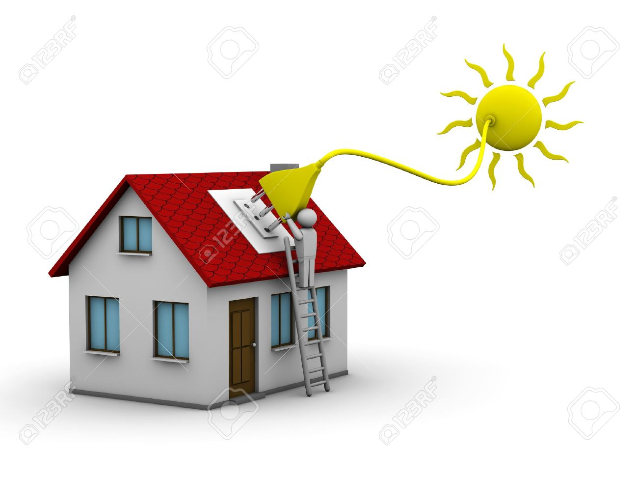 man who installs a solar energy system on a house Stock Photo - 7420678
