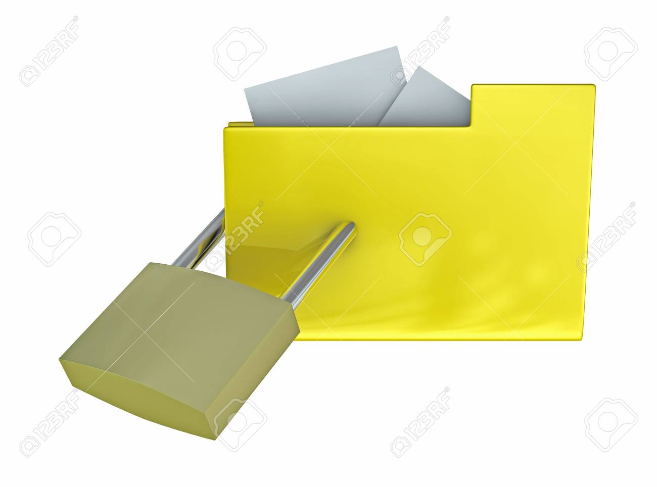 One 3d render of a folder locked with a padlock. Concept of protection of digital data Stock Photo - 9245157