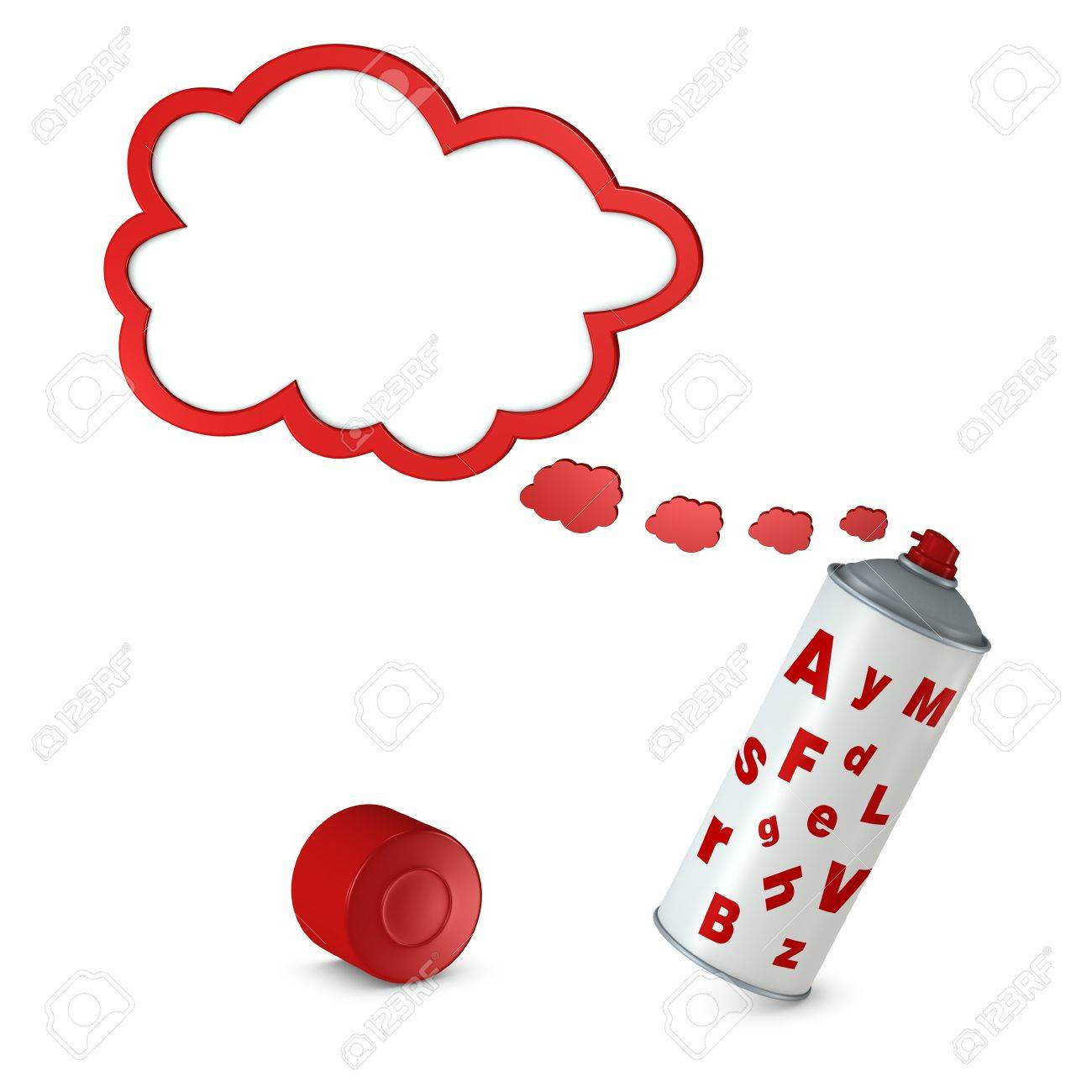 balloon text that goes out from a spray can (3d render) Stock Photo - 9497436