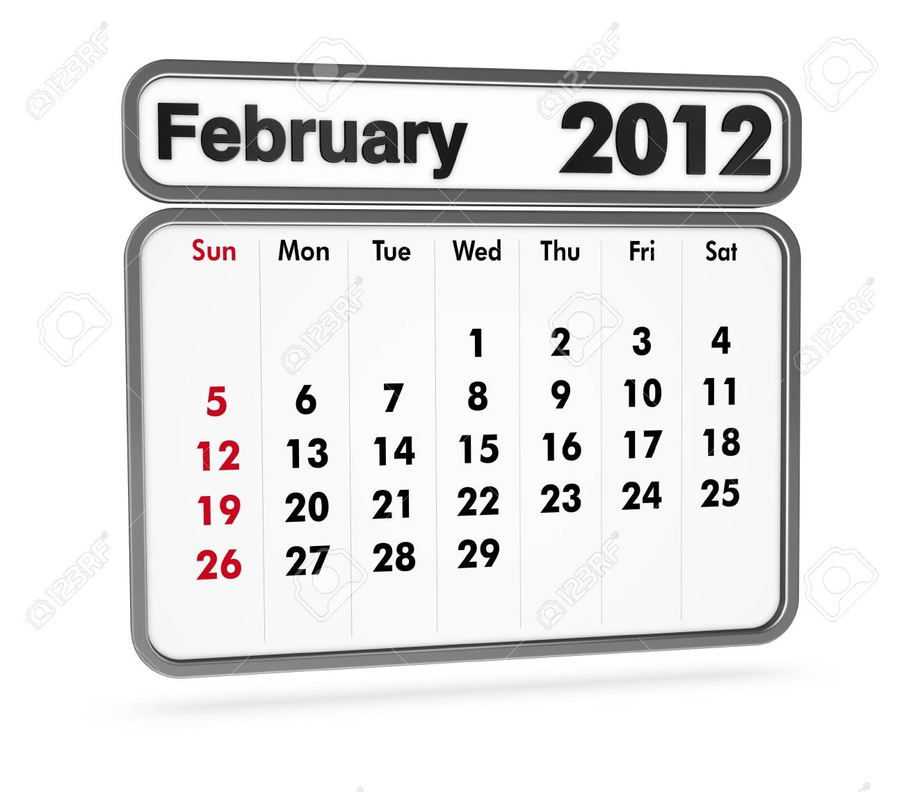 february 2012 calendar on white background (3d render) Stock Photo - 9553365