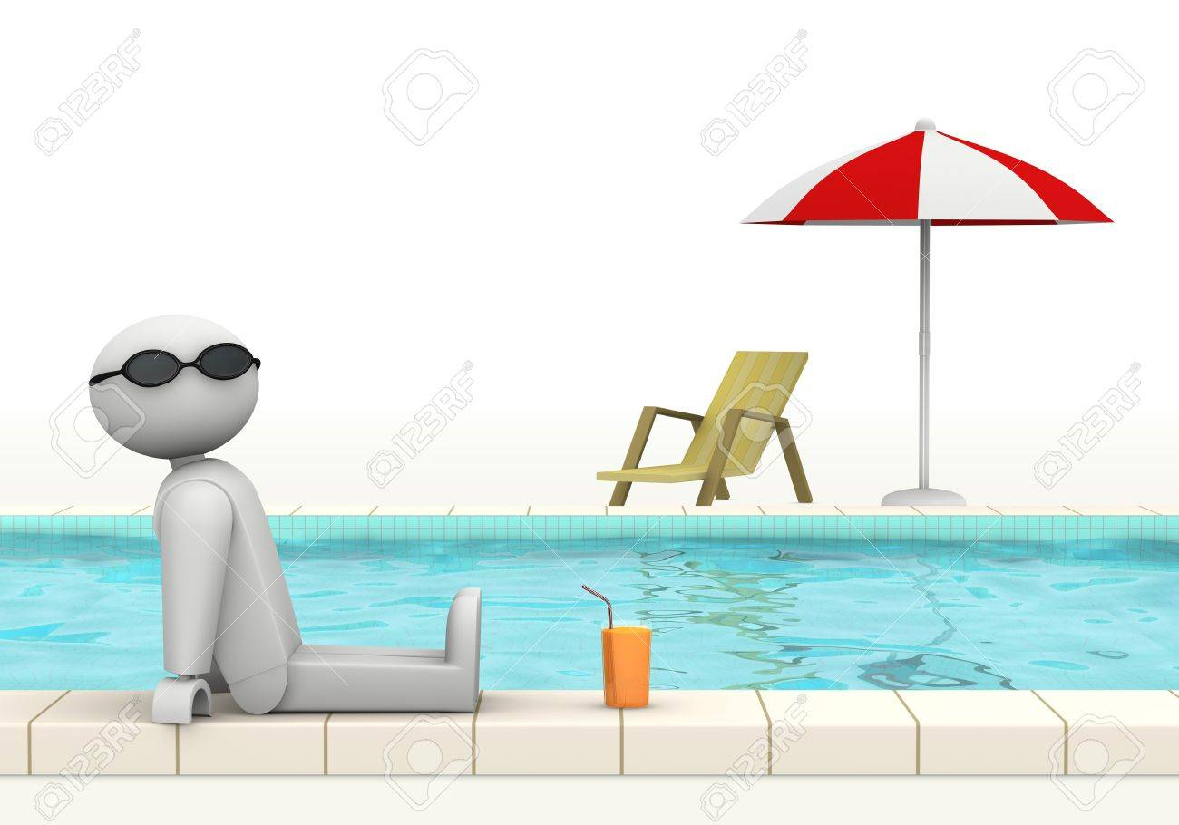 one 3d man at the edge of a swimming pool with sunglasses and a glass of fresh beverage (3d render) Stock Photo - 9614909