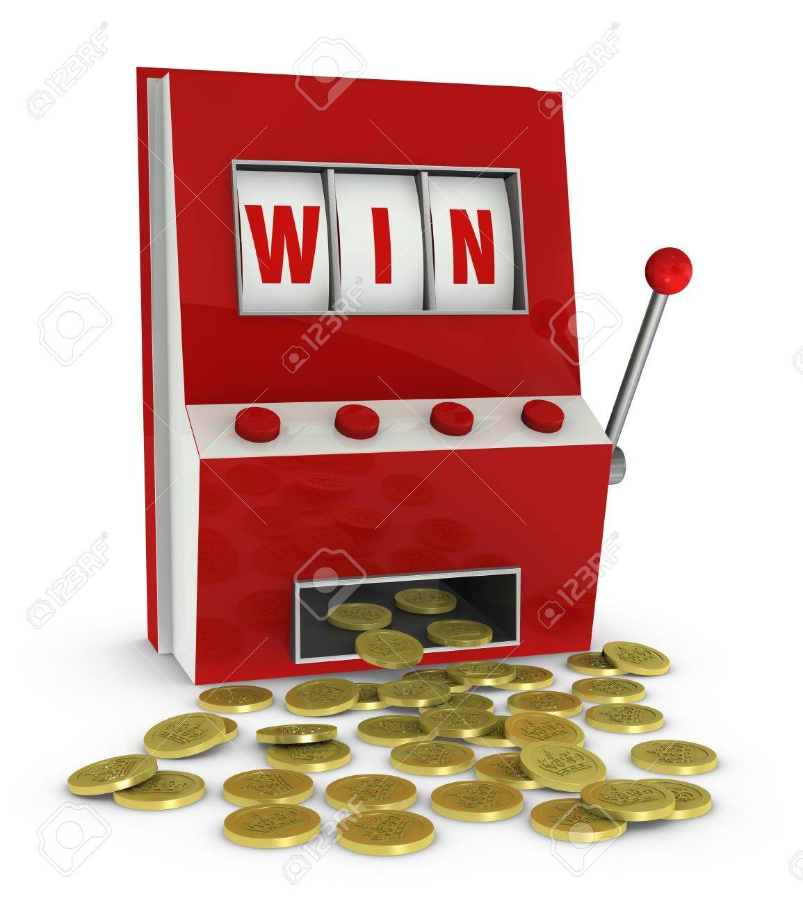 one slot machine with the word win and a lot of coins that go out of it (3d render) Stock Photo - 9614910