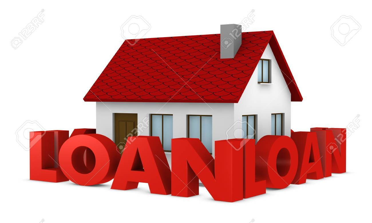 one house with a wall around it made with the word loan (3d render) Stock Photo - 9882809