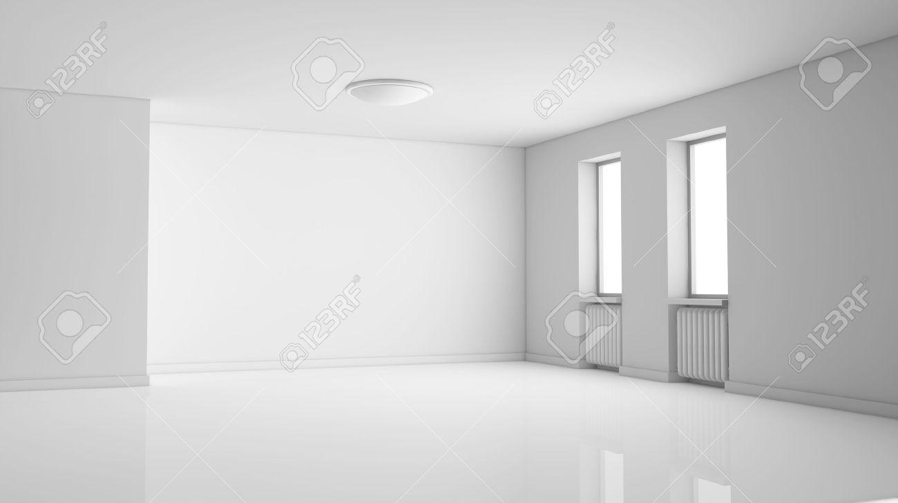 Une Chambre Vide, Lumineuse Avec Deux Fenêtres. La Salle Est Toute ...