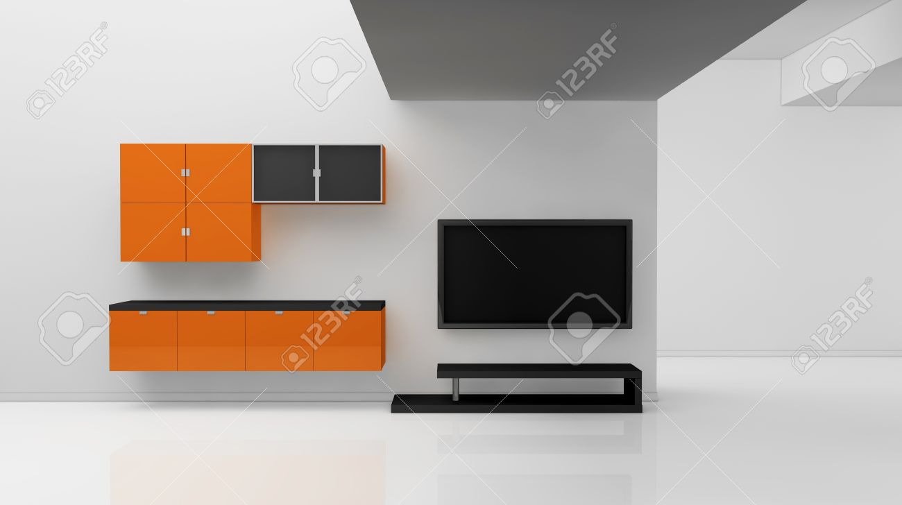 Minimal Living Room With A Television 3d Render Stock Photo