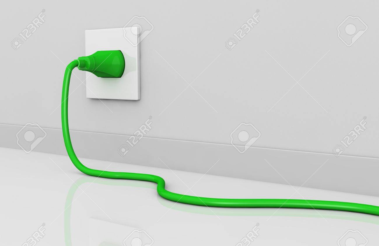 One Wall With An Electric Plug And A Cable Of Green Color (3d ...
