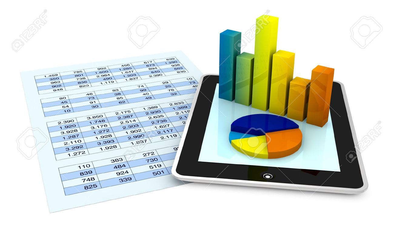 one paper with a spreadsheet and a tablet that shows the graphs, concept of tecnology supporting the financial analisys (3d render) Stock Photo - 10514191