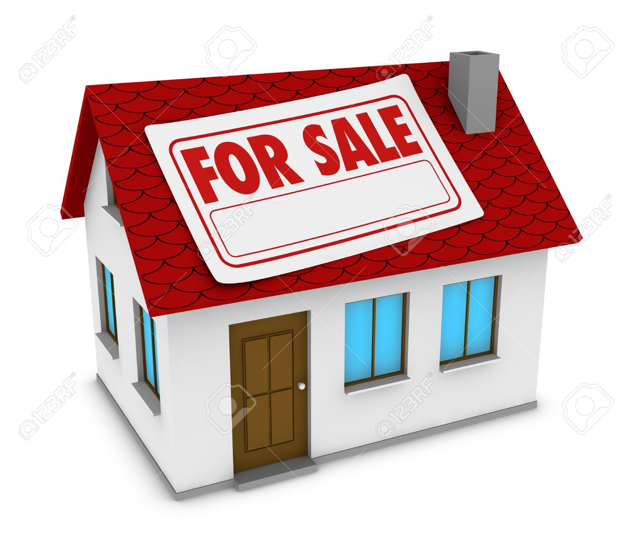 one house with a label with the words for sale and a white space