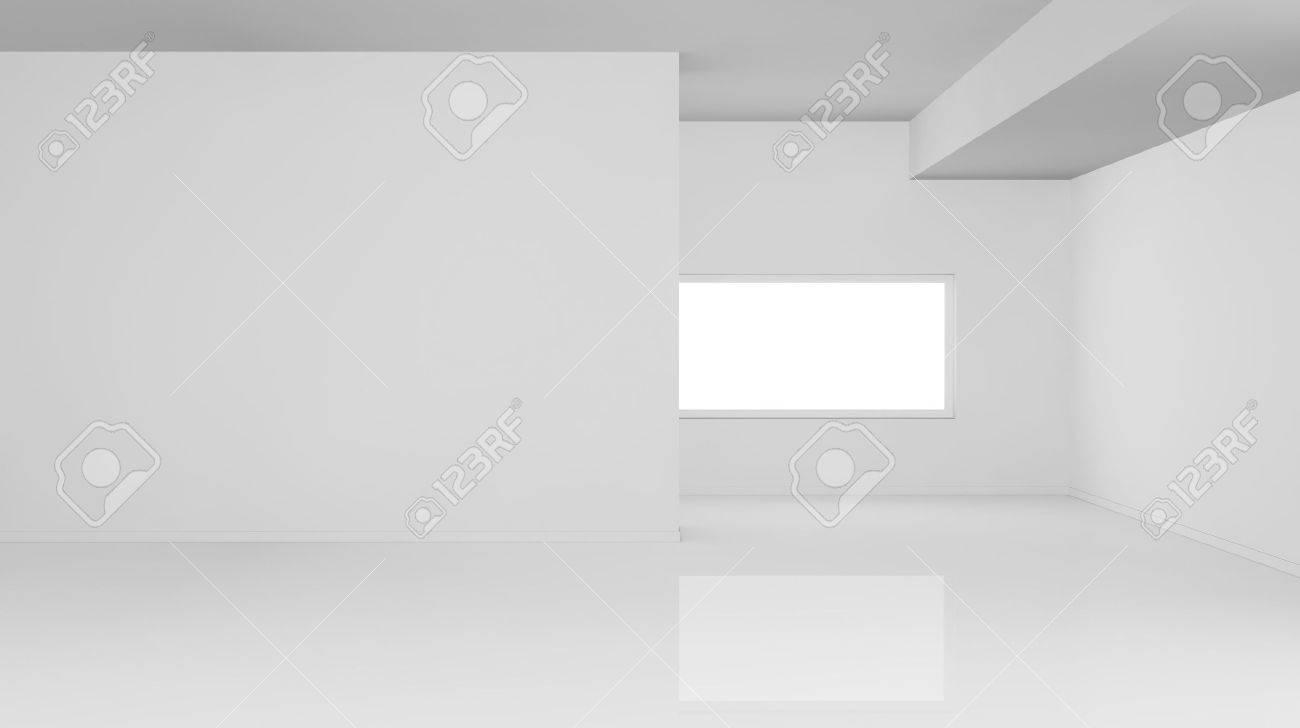 Ein Leerer Heller Raum Mit Einem Fenster Das Zimmer Ist Ganz Weiß