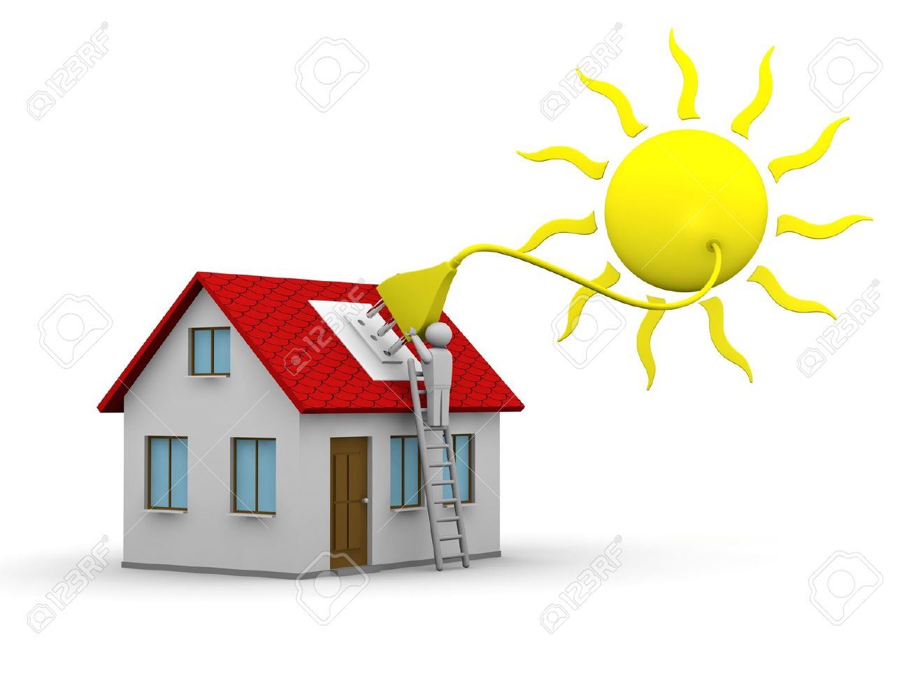 man who installs a solar energy system on a house Stock Photo - 10626752
