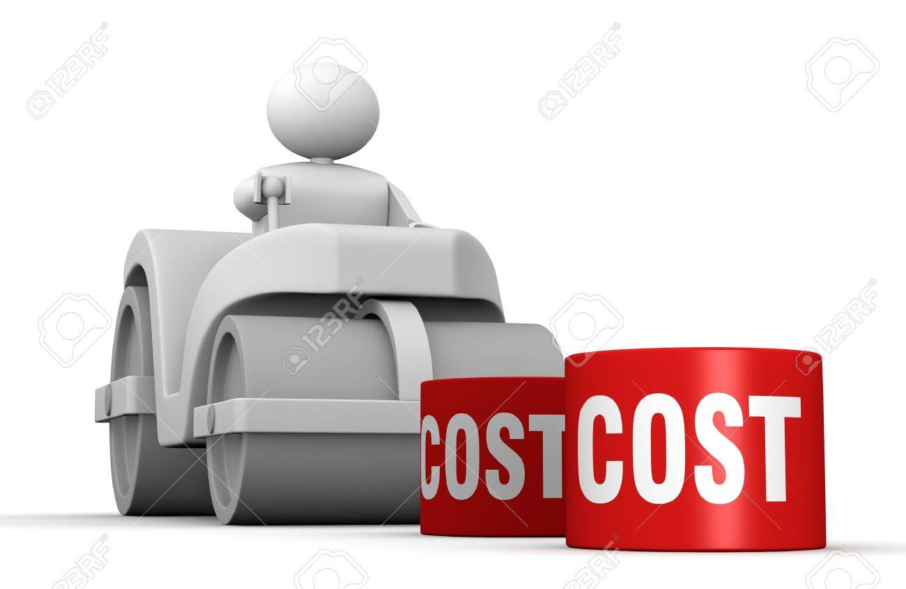 One 3d man with a steamroller crushing costs (3d render) Stock Photo - 10684030