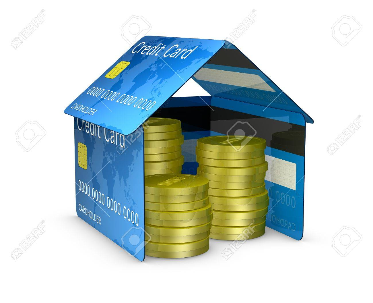 one house made with credit cards, with stacks of coins (3d render) Stock Photo - 10684054