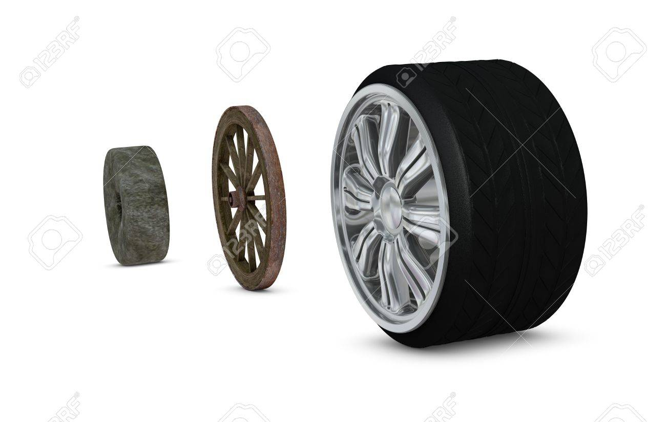 three wheel made with different materials, concept of progress (3d render) Stock Photo - 10684086