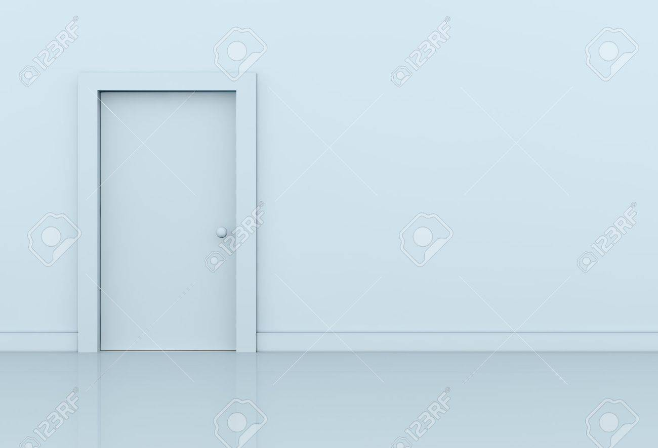one wall with a closed door on left side (3d render) Stock Photo -