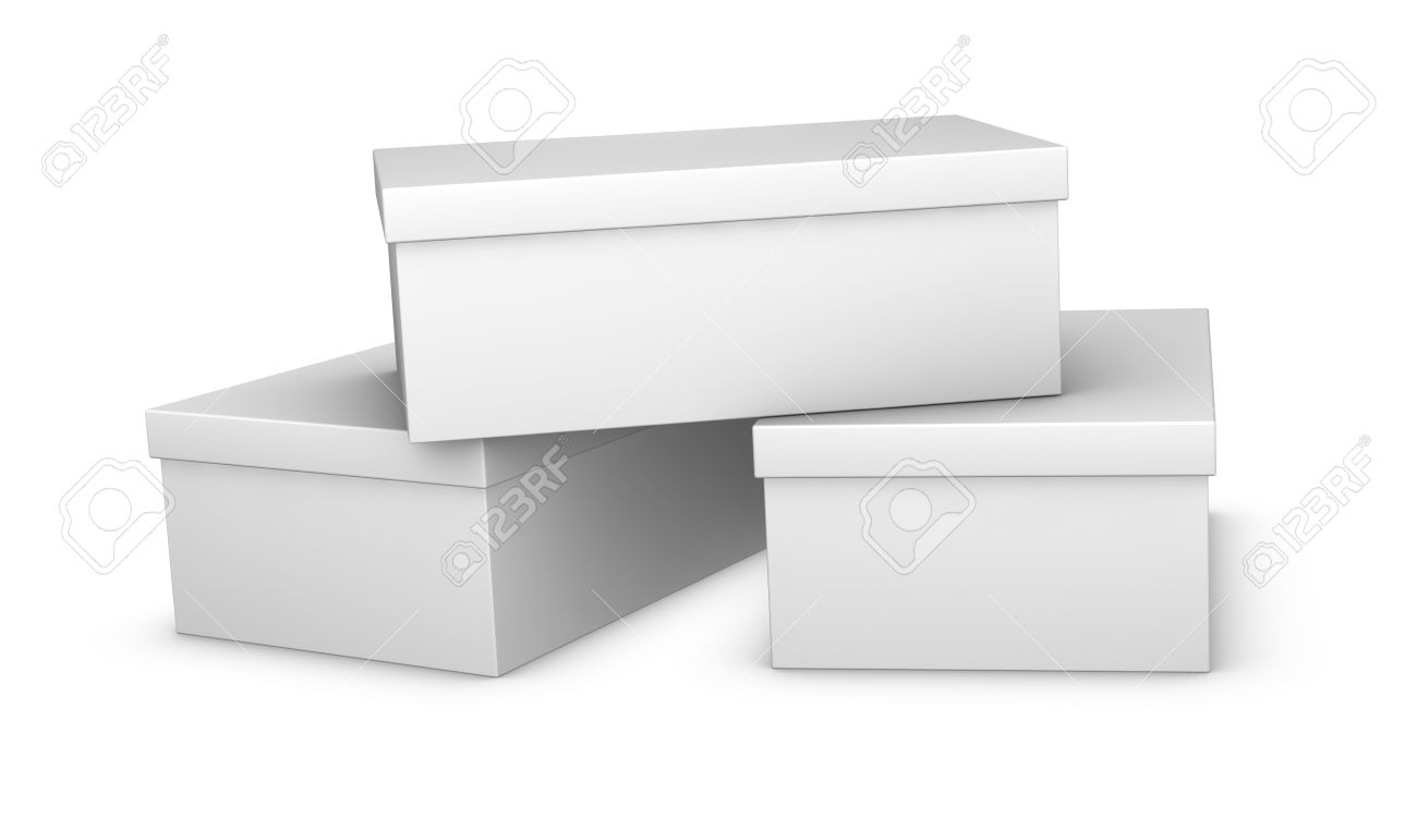 shoe box three white closed shoe boxes 3d render
