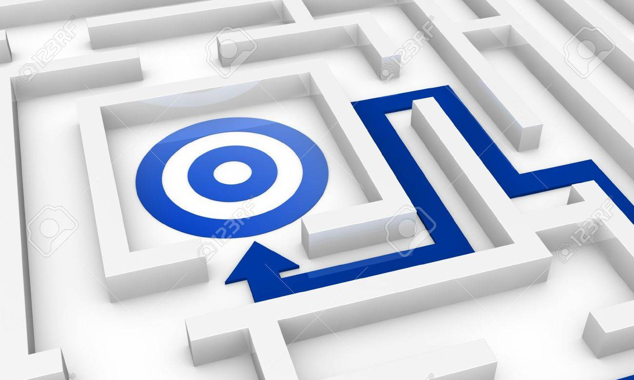 one maze with an arrow pointing to the centre where there is a target (3d render) Stock Photo - 11097984
