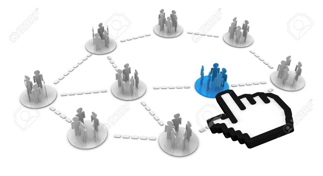 groups of people cartoon connected each other (3d render) Stock Photo - 11097969