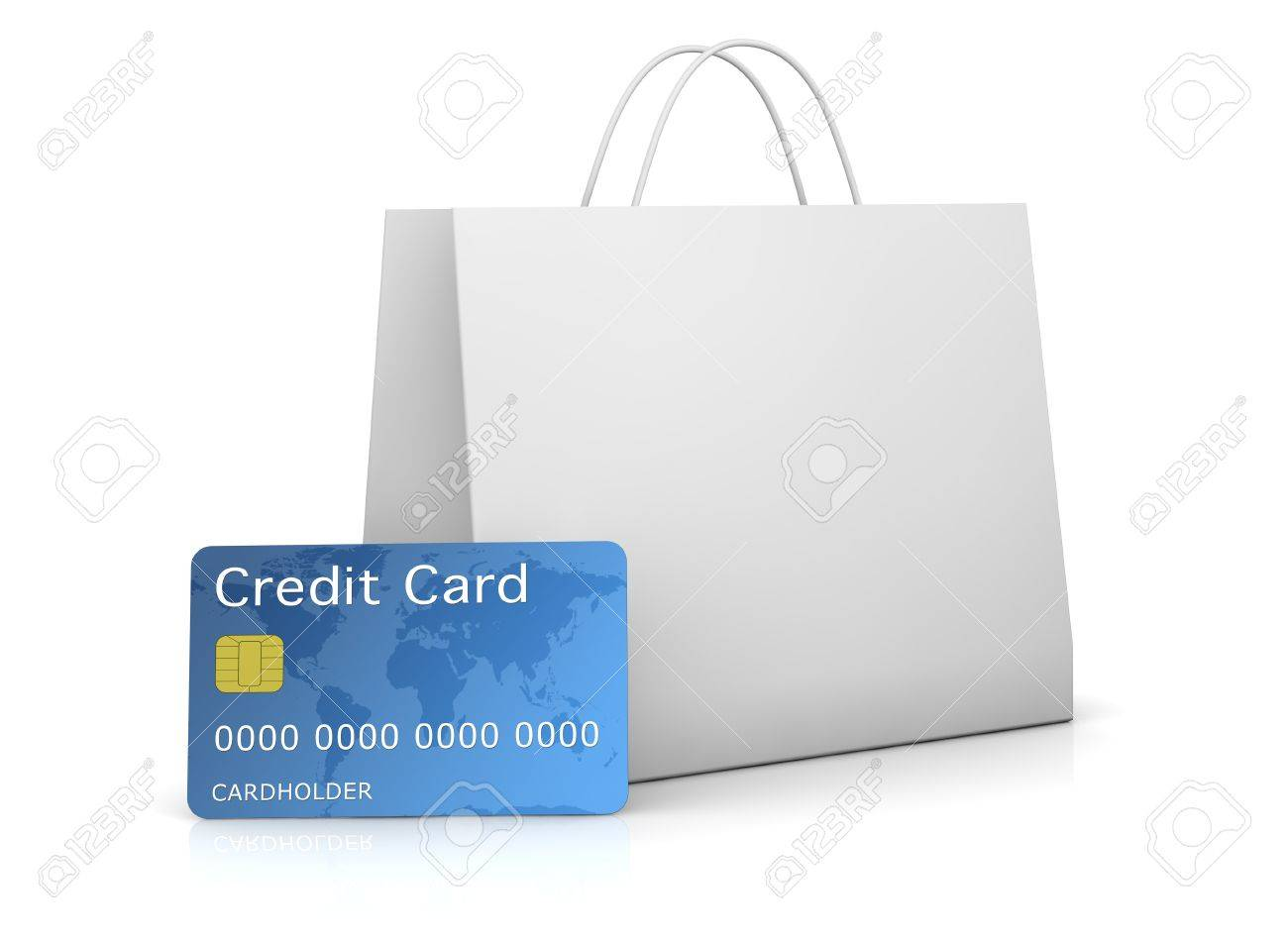 one shopping bag with a credit card in front of it (3d render) Stock Photo - 11097945