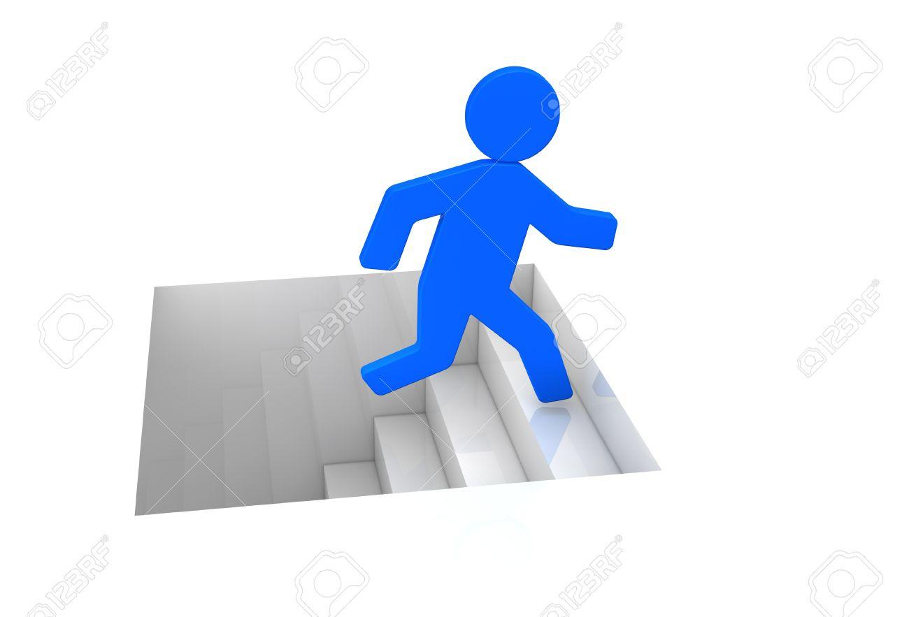 one cartoon man that climbs a stair (3d render) Stock Photo - 11092594